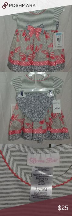 Bonnie Baby Dress 6-9 Months This is new with tags. Size 6-9 months. Its gray and pink. Bonnie Baby Dresses Casual
