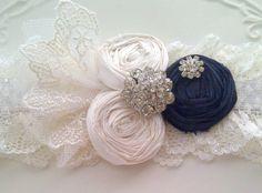 Blue Garter - Navy Blue Wedding Garter Set