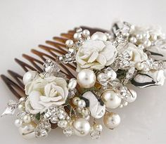 Vintage Rose Comb of freshwater pearls, antique cream pearls, glass beads, Swarovski crystals, cubic zirconia and paper flowers - Gillian Million.  (Middlesex)