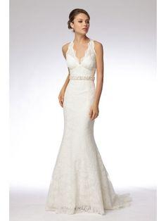 Trumpet Embroidered Lace Halter V-neck Wedding Dress with Keyhole Back