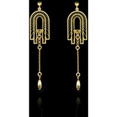 Gold Metropolis Drops ($169) ❤ liked on Polyvore featuring jewelry, earrings, beaded jewelry, deco earrings, gold post earrings, gold chain jewelry and art deco earrings