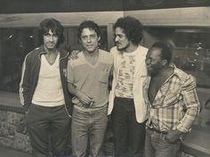 Chico Buarque no estúdio da Polygram em 1982, junto com Fagner, Zé Ramalho e João do Vale.