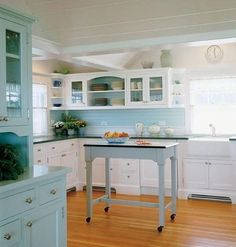 """Rebecca Elliott Interior Design: Color the Kitchen"" I really like this, but throw some yellow accents in there. Imagine my yellow fiesta-ware contrasting against that lovely light blue..."