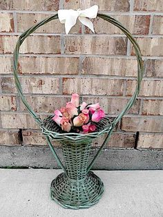 Vintage - Woven Wicker - Wooden - Shabby French Country - Wedding - Funeral Basket - CHIC Display. $39.95, via Etsy.