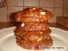 Μαλακά cookies τριπλής σοκολάτας #sintagespareas