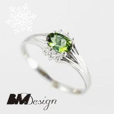 Pierścionek zaręczynowy z diamentami i turmalinem Rzeszów  Pierścionek zaręczynowy Rzeszów BM Design BM RzeszówBM Rzeszów
