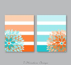 Items similar to Floral Bursts Big Stripes Art Prints, Ombre Style Modern Home Decor Set of 8 x 10 OR 11 x 14 sizes // Orange and Turquoise - Unframed on Etsy - Cute Canvas Paintings, Easy Canvas Art, Small Canvas Art, Easy Canvas Painting, Mini Canvas Art, Diy Canvas, Canvas Wall Art, Tape Painting, Diy Painting