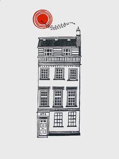House 4  Limited Edition Linocut par JeffJosephineDesigns sur Etsy, £35,00
