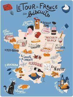 Tour de France des Biscuits // illustrated map on Behance France Map, France Travel, Paris France, Buch Design, Map Design, Travel Maps, Travel Posters, Voyage Europe, Travel Illustration