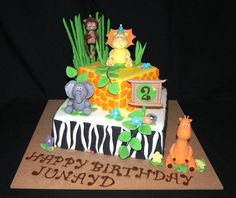Jungle Animal Themed Cake by Karakidz Cakes