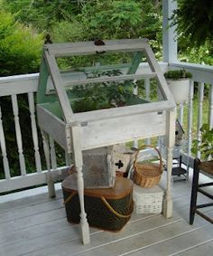 """Little table greenhouse"" - great use for all of those old windows I have stacked up in the shed, plus a leeetle bit of a greenhouse/cold frame."