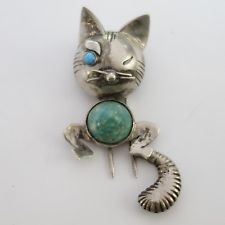 RETRO VINTAGE STERLING SILVER AMAZONITE TURQUOISE WINKING CAT PIN CLIP BROOCH