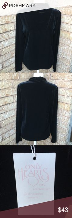 "Only Hearts NWT Long sleeve Velvet Top Black short turtleneck velvet long sleeve black top by the brand Only Hearts in a size large. NWT.   Lay flat measurements- Underarm to underarm 19"", shoulder length 25.5"", underarm length 16"".   Bundle 2 or more items and receive 10% off your order. Not interested in trading. All shipments go out within 24 hours of purchase. Items come from a smoke and pet free home. Feel free to ask any questions. Only Hearts Tops Tees - Long Sleeve"
