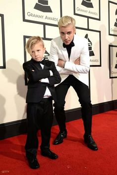 Justin Bieber and his brother at the Grammys