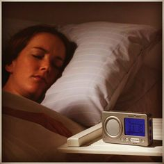 SkyMall Solution: Bring sound therapy with you! This Travel Sleep Sound Therapy System is made for traveling and will help ease you to sleep.  Don't let another restless night in bed ruin your travels. This system will allow you to fall asleep to soothing sounds and even has an alarm clock feature to help wake you up!