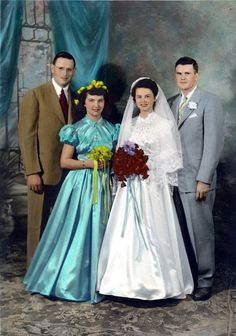 1950's hand tinted group wedding photo