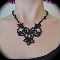 Tatted Lace Necklace - The Night Garden