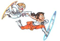 Chell and Human Wheatley Portal 2 Wheatley, Best Indie Games, Portal Art, Valve Games, Human Art, Aperture Science, You Monster, My Drawings, Half Life