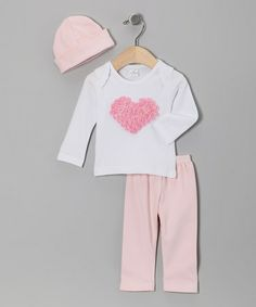 Take a look at this White & Pink Rosette Heart Pants Set - Infant by Frilly Flair: Girls' Apparel on #zulily today!