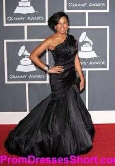 da1450e3721 Taffeta Melanie Fiona Black One Shoulder Evening Prom Dress Grammy Awards Red  Carpet