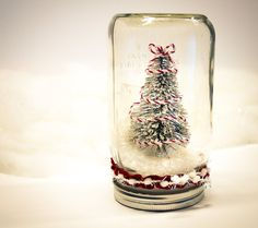 Candy Stripe Snowglobe Mason Jar Christmas Decor Pine tree snow red and white pom pom mantel decoration dry Ribbon On Christmas Tree, Wooden Christmas Trees, Christmas Themes, Christmas Tree Decorations, Christmas Crafts, Christmas Door, Christmas Goodies, Birch Tree Art, Pine Tree
