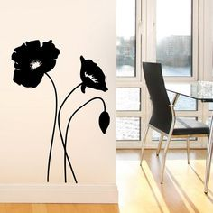 Avignon - Poppies flowers with butterflies wall decal - red/grey. $35.00 via Etsy. | Mi nina | Pinterest | Poppy flowers Butterfly wall and Wall decals  sc 1 st  Pinterest & Avignon - Poppies flowers with butterflies wall decal - red/grey ...