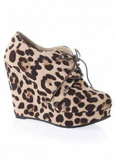 Suede Lace-Up Wedge Booties |   LEOPARD