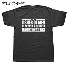 WEELSGAO New Fisher Of Men Christian Shirt Jesus Religious T Shirt Tshirts Cotton Short Sleeve T-shirts. Christian Clothing, Christian Shirts, Christian Apparel, Christian Crafts, Distressed Tee, Jesus Shirts, Diy For Men, Fisher, Shirt Designs