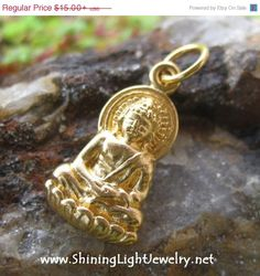 ON SALE TODAY Gold Buddha Necklace Charm  by ShiningLightJewelry