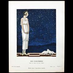 Gazette du Bon Ton - Les Colombes, robe du soir de Paul Poiret, planche d'André Marty (n°8, 1924)