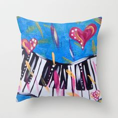Funky Piano in Blue  Throw Pillow by HeartsandKeys - $20.00