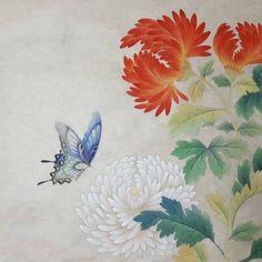 . 부분컷샘플3 더이상은 무리..ㅜㅜ  ##민화#문선영#석류#나비#새#전통채색화#양평#민화수업#미술스타그램 #art Korean Painting, Chinese Painting, Chinese Art, Botanical Drawings, Botanical Art, Japanese Art Styles, Peacock Art, Old Paintings, Bird Drawings