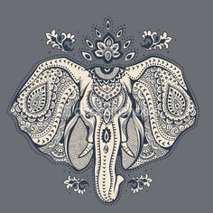 Vintage Indian elephant with tribal ornaments illustration