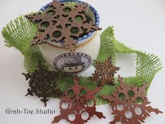 Snowflake Ornaments Rustic Wooden SnowflakesWood by grahtoestudio