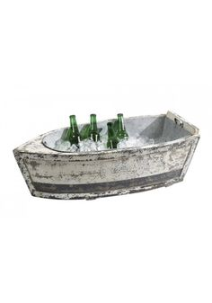 Wooden Wood Row Boat for Ice Bucket Flowers Wine Bottles fill with your ideas !