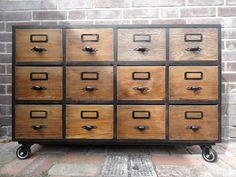 Komoda, kartoteka, szafka TV, komoda katalogowa - farfala-design - Komody Old Drawers, Komodo, Filing Cabinet, Designer, Etsy, Storage, Furnitures, Flat, Architecture
