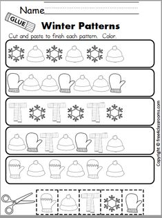 Free Winter Math Patterns - Cut and Paste - Free4Classrooms