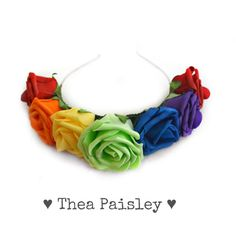 Rainbow Flower Crown: Pride LGBT Flower Halo 2014 ($24) ❤ liked on Polyvore featuring accessories, hair accessories, hair stuff, rainbow, floral garland headband, flower garland, head wrap headband, floral crown headband and floral garland