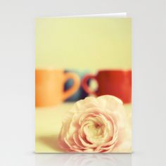 Ranunculus with cups Stationery Cards by Tine ✿ NOVEMBERKIND - $12.00