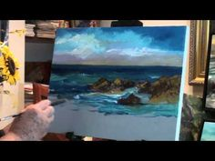 How to Paint Ocean with Rocks - Marge Kinney Art - Part 2 of Seascape -(3 Parts)