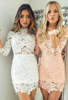 Sexy Sheath Lace 3/4 Sleeves Scalloped Neck Pink Homecoming/Cocktail Dresses OK326