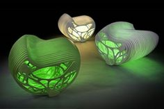 "3D Printed Lightning. Biomimicry design: Bone as ""light"" seating"