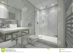 modern marble bathrooms | Modern En Suite Marble Bathroom In White Royalty Free…