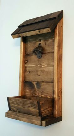Bottle opener wall mount w/ removable cap catcher Diy Bottle Opener, Wall Mounted Bottle Opener, Scrap Wood Projects, Diy Pallet Projects, Wood Creations, Wood Pallets, Barn Wood, Wood Crafts, Woodworking Projects