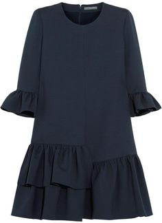 Alexander McQueen Ruffled Wool-blend Mini Dress – Midnight blue Alexander McQueen Wool Blend Mini Dress with Ruffle – Midnight Blue Alexander Mcqueen Dresses, Hijab Style, Moda Emo, Bustiers, Dress Patterns, Wool Blend, Dress Skirt, Ruffle Dress, Beautiful Dresses
