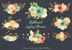 Check out Chalkboard Spring Flowers by Delagrafica on Creative Market