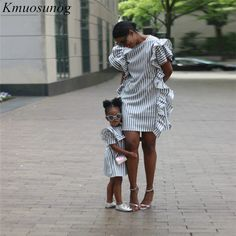 2019 Autumn Mom and Daughter Matching Dress Ruffles Striped Mini Dress Mother daughter dress family matching clothes Mother Daughter Matching Outfits, Mommy And Me Outfits, Matching Family Outfits, Matching Clothes, Ruffle Dress, I Dress, Striped Dress, Dress Outfits, Ruffles