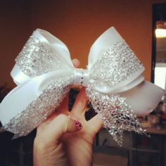 White/Glitter Sparkle Cheer Bow.