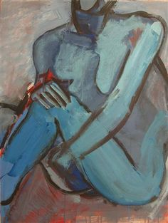 STEPHEN POLING Blue Figure 2, 2011   acrylic painting on paper one-of-a-kind signed on front 30 h x 22 w  0 lbs. 1 oz. notes: This piece is an intuitive, gestural, expressive figure painting. The two long sides of this piece have a deckled edge.   $1,300