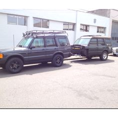 Expedition Land Rover Discovery with a hacked Disco as trailer.